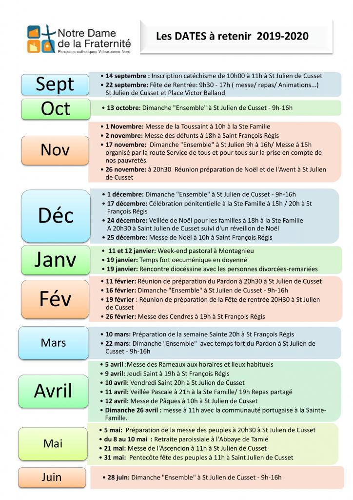 Dates 2019-2020 Notre Dame de la Fraternité Villeurbanne